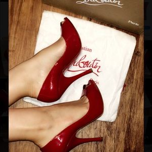 Louboutin Maryl red patent leather peep toe heels